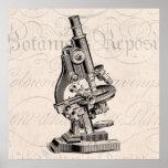 Ejemplo Steampunk retro del microscopio del vintag Posters