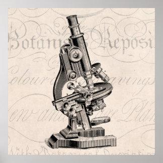Ejemplo Steampunk retro del microscopio del vintag Póster