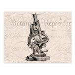 Ejemplo Steampunk retro del microscopio del vintag Tarjetas Postales