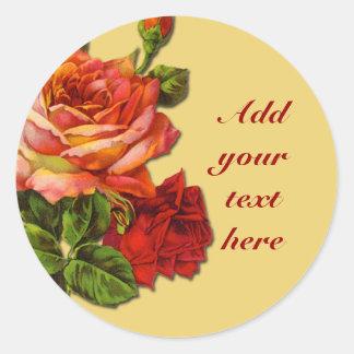 Ejemplo subió vintage hermoso en los pegatinas pegatina redonda