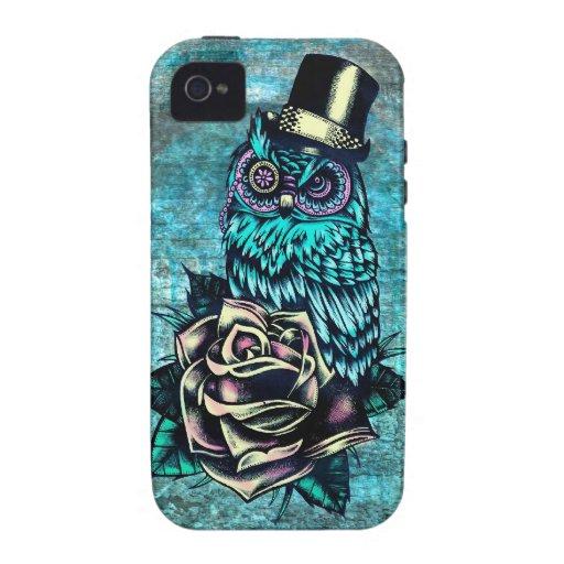 Ejemplo texturizado colorido del búho en base del  Case-Mate iPhone 4 fundas