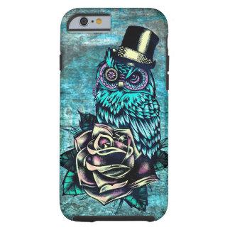 Ejemplo texturizado colorido del búho en base del funda resistente iPhone 6