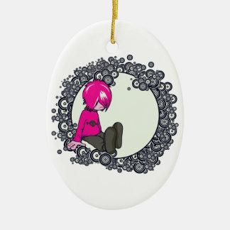 ejemplo triste del vector del niño del emo adorno ovalado de cerámica