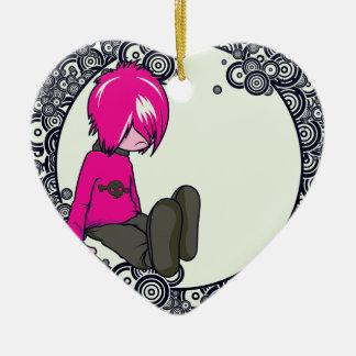 ejemplo triste del vector del niño del emo adorno de cerámica en forma de corazón