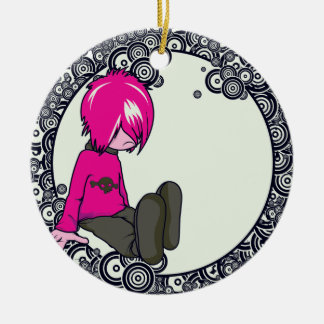 ejemplo triste del vector del niño del emo adorno redondo de cerámica