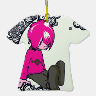 ejemplo triste del vector del niño del emo adorno de cerámica en forma de camiseta