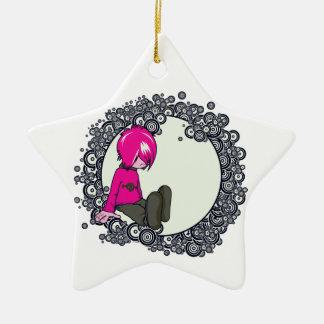 ejemplo triste del vector del niño del emo adorno de cerámica en forma de estrella