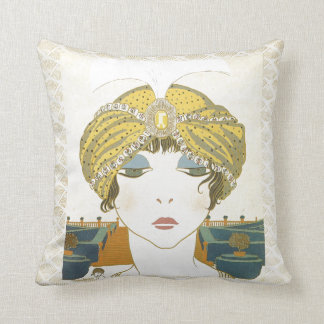 Ejemplo Turbaned de la moda de los 1900s de Poiret Cojín