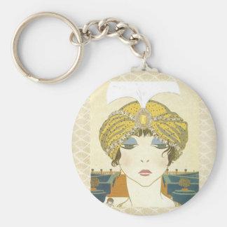 Ejemplo Turbaned de la moda de los 1900s de Poiret Llavero Redondo Tipo Pin