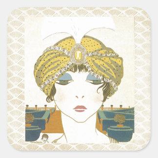 Ejemplo Turbaned de la moda de los 1900s de Poiret Pegatina Cuadrada