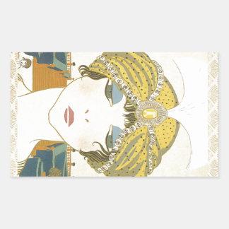 Ejemplo Turbaned de la moda de los 1900s de Poiret Pegatina Rectangular