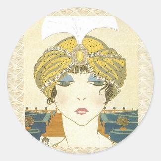 Ejemplo Turbaned de la moda de los 1900s de Poiret Pegatina Redonda