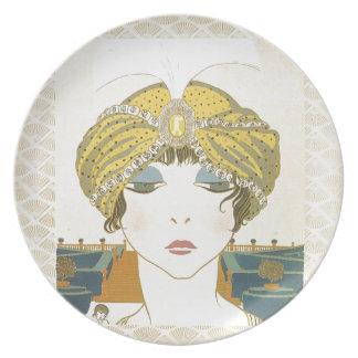 Ejemplo Turbaned de la moda de los 1900s de Poiret Plato De Cena