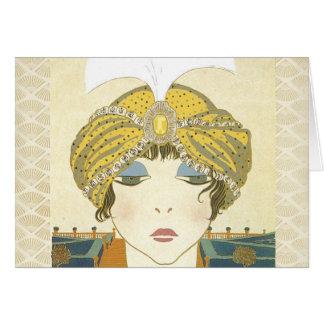 Ejemplo Turbaned de la moda de los 1900s de Poiret Tarjeta De Felicitación
