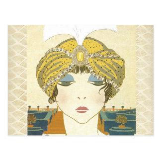 Ejemplo Turbaned de la moda de los 1900s de Poiret Postal