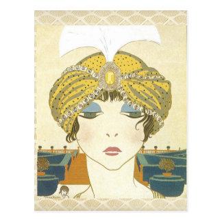 Ejemplo Turbaned de la moda de los 1900s de Poiret Tarjeta Postal