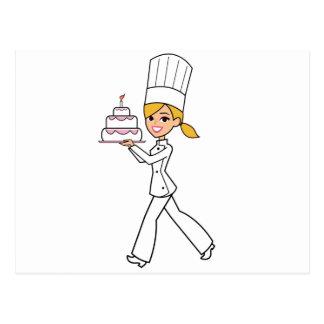 Ejemplo único del cocinero del chica tarjetas postales