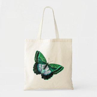 Ejemplo verde antiguo de los 1800s de la mariposa bolsa tela barata