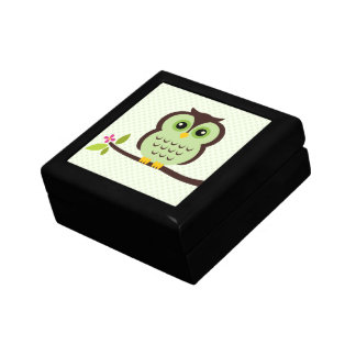 Ejemplo verde del búho caja de regalo