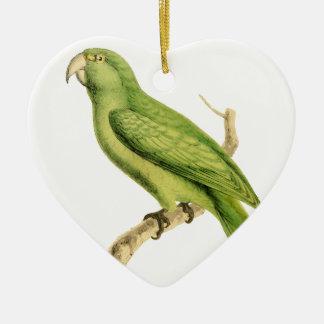 Ejemplo verde del pájaro del loro de William Adorno De Cerámica En Forma De Corazón