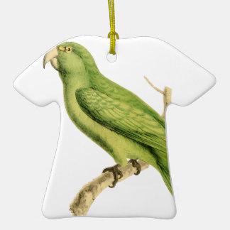 Ejemplo verde del pájaro del loro de William Adorno De Cerámica En Forma De Playera