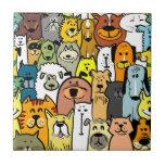 Ejemplos animados de los perros y de los gatos azulejo cuadrado pequeño
