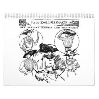 Ejemplos de la moda del periódico del vintage calendario de pared