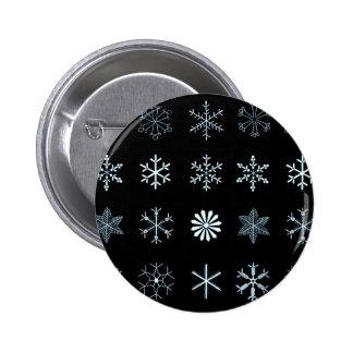 Ejemplos de los copos de nieve (negro) pin redondo de 2 pulgadas