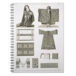 Ejemplos de los trajes de seda y egipcios, de 'Des Spiral Notebook