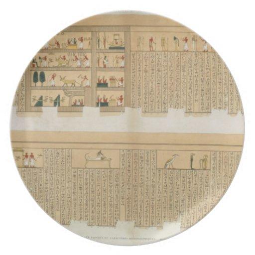 Ejemplos de un manuscrito de Pampus con hierogly Plato De Comida