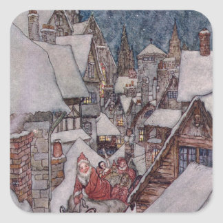 Ejemplos del navidad pegatina cuadrada