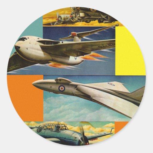 Ejemplos retros de los aviones de combate del kits etiquetas