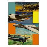 Ejemplos retros de los aviones de combate del kits felicitación