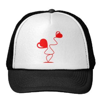 Ejemplos románticos con dos corazones gorras de camionero
