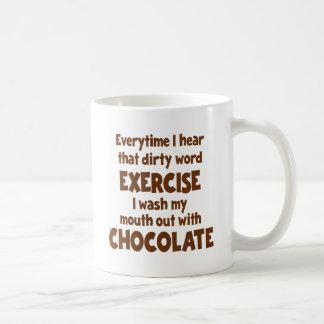 Ejercicio 1 de la palabra sucia, marrón taza de café
