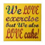 Ejercicio, amor, corazones, torta teja  ceramica