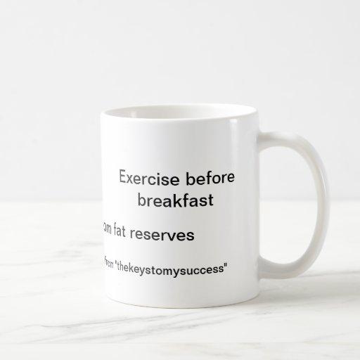 Ejercicio antes del desayuno tazas de café