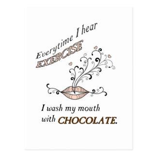 Ejercicio con el chocolate tarjetas postales