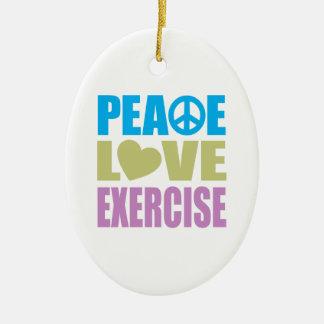 Ejercicio del amor de la paz adorno ovalado de cerámica