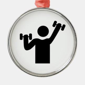 Ejercicio del levantamiento de pesas adorno navideño redondo de metal