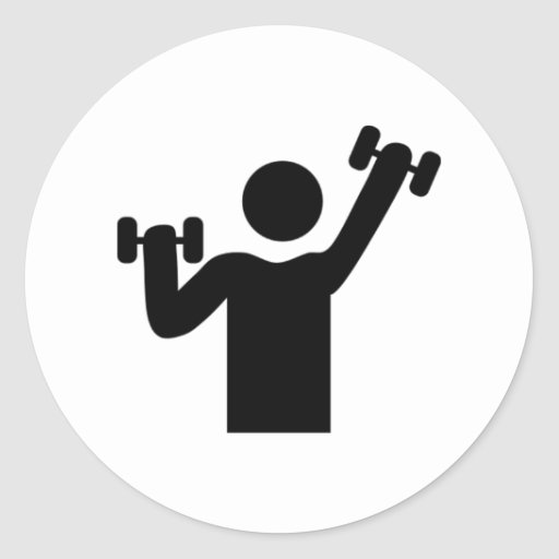 Ejercicio del levantamiento de pesas etiqueta redonda