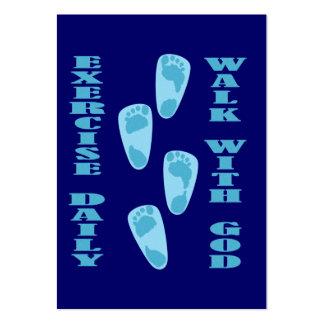 Ejercicio diario - camine con la tarjeta de la tarjetas de visita