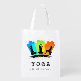 Ejercicio elegante y colorido de la YOGA de Pilate Bolsas Para La Compra