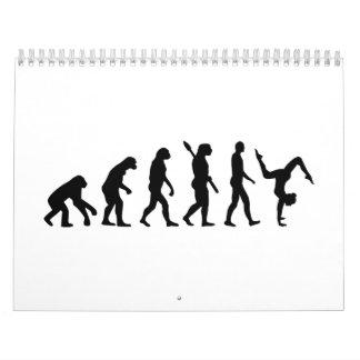 Ejercicios de piso de la evolución calendario de pared
