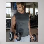 Ejercitando, gimnasio, deporte, hombre, cuidado de impresiones
