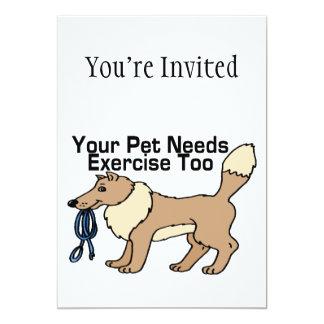 Ejercite a su mascota invitación 12,7 x 17,8 cm