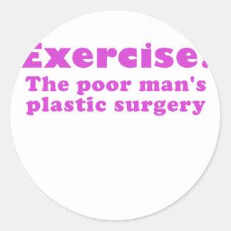Ejercite un pobre sirve cirugía plástica etiqueta redonda