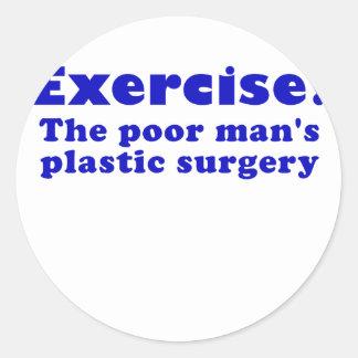 Ejercite un pobre sirve cirugía plástica pegatina redonda