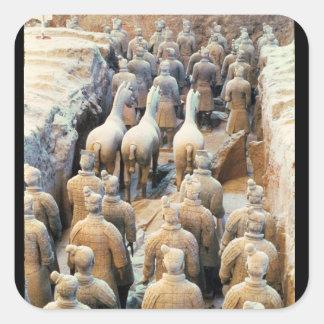 Ejército de la terracota, dinastía de Qin, 210 Pegatina Cuadradas Personalizada