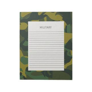 Ejército de los militares del camuflaje bloc de notas